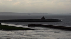 Rainy weather on the city quay Stock Footage