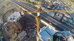Construction site with crane shot from UAV quadcopter - stock footage