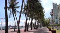Manila Bay seen from Roxas Boulevard Philippines Stock Footage