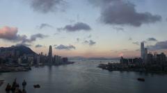 Hong Kong Skyline at Dawn Stock Footage