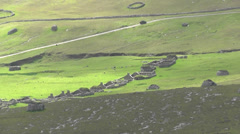 Cleits and abandoned Village Hirta St Kilda Scotland Stock Footage