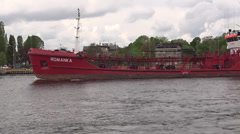 ROMANKA - Bunkering Tanker ship on the river, Gdansk, Poland Stock Footage