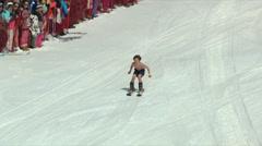 Skier Skis Across Pond Stock Footage