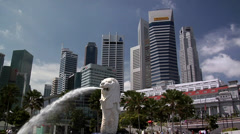 The Merlion and CBD Singapore - stock footage