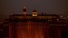 Las Vegas Strip Night Hotels - stock footage
