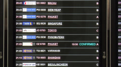 The Arrival Board at the New SUVarnabhumi International Airport Stock Footage