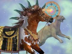 year of the cougar horse - stock illustration
