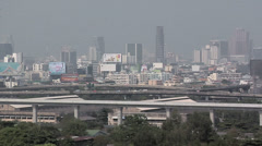 Elevated View looking towards Ploenchit and Siam District Bangkok Stock Footage