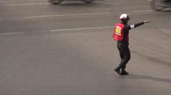 Traffic Policeman on Sathon Nuea Rd Bangkok Stock Footage