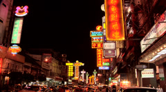 Neon Signs at   Yaowarat in Chinatown at Night Stock Footage