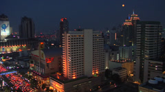 Elevated View at Night looking down to Rachadamri Road. Bangkok Matching Day Stock Footage