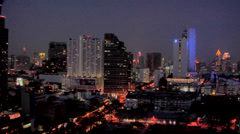 Elevated View at Night of Silom and CBD District Bangkok Stock Footage