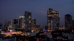 Elevated View at Night of Sathon and CBD District Bangkok Stock Footage