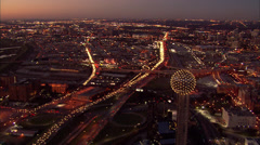 Dallas Skyline Freeway Traffic Stock Footage