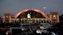 Hua Lamphong- The Bangkok Railway Station at Night ( matching Day Shot: Stock Footage