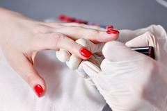 creation manicure - stock photo