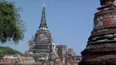 The 3 Chedis (Stupas) Temple Ruins of the Ancient Palace Wat Phra Si Sanphet Stock Footage