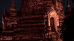 The 3 Chedis (Stupas) at Night of the Ancient Palace Wat Phra Si Sanphet Stock Footage