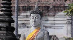 Buddha Statues at Wat Yai Chaya Mongkol Ayuthaya Stock Footage