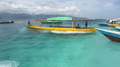 Boats and clear water in Gili Trawangan Stock Footage