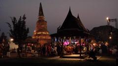 Ancient Market at Wat Langkhakhao Ayuthaya - stock footage