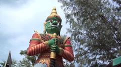 Temple Guard of the Big Buddha at Wat Phra Yai in Thambon Bo Koh Samui Stock Footage