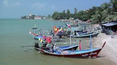 Fishing  Boats at Bang Rak Bay Koh Samui Stock Footage