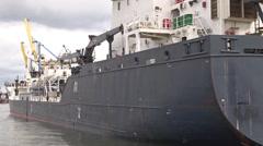 Orabothnia oil/chemical tanker ship on the Motlava river. Port in Gdansk Stock Footage