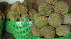 Fresh Durian (the Queen of Fruits) at a Durian Wholesaler in Pak Khlong Market Stock Footage