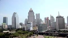 Skyline of Buildings in Silom and Sathon District Stock Footage