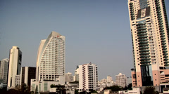 Buildings in Sukhumvit District late afternoon Stock Footage