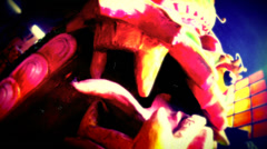 Retro look close up of dragon sculpture in Chinese Buddhist temple Stock Footage