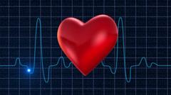 Osciloscope heart blue pulsating Stock Footage