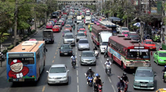 Traffic on Phetchaburi Road looking West Timelapse Stock Footage