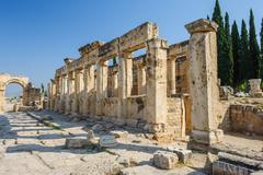 ruins of ancient hierapolis, now pamukkale, turkey - stock photo