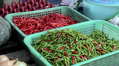 Fresh Chili at the Market in the Center of Town in New Suthothai Stock Footage