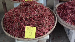 Dry Chili  at the Market in the Center of Town in New Suthothai Stock Footage