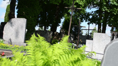 Fern plants, grave tomb stones and crosses in rural cemetery Stock Footage