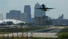 Jet Airliner Takes Off From City Airport Stock Footage