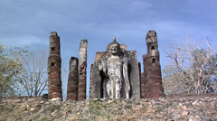 Buddha Statue at the Ruins of Wat Saphan Hin at the Historical Park of old Stock Footage