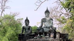 Buddha Statues at the Ruins of Wat Phra Phai Luang at the Historical Park of old Stock Footage