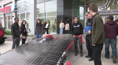 College and University students solar car on display Stock Footage