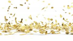 Rain from Golden Coins. Animation of Falling Golden Coins on white background Stock Footage