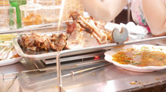 4k Ultra HD time lapse video on eating grilled lamb leg (TL--LAMB ROASTING 3) Stock Footage
