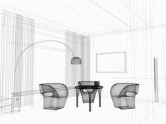 Modern dining room Stock Illustration