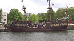 Passenger ship stylized on XVI century galleon, Gdansk, Poland, Westerplatte - stock footage