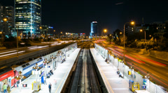 Time Lapse Of Traffic in Ayalon Freeway and Railway Station Stock Footage