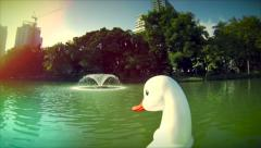 Duck paddle boat ride in Lumpini park Bangkok. - stock footage