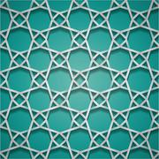 seamless abstract background, relief lines on turquoise color - stock illustration