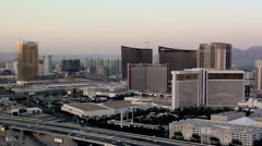 View of the Casino-Hotels of the Las Vegas Strip and the I-15 Freeway - stock footage